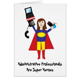Cartão Super-herói profissional administrativo (Brunette)