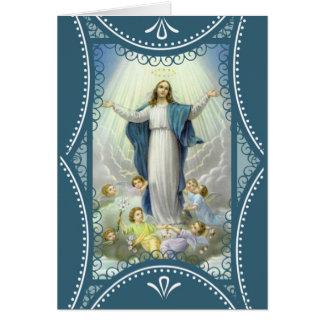 Cartão Suposição dos anjos abençoados da Virgem Maria