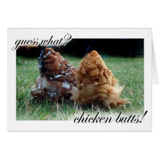 Cartão Suposição que? Bumbuns da galinha!