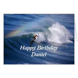 Cartão Surfista do feliz aniversario de Daniel com