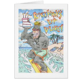 Cartão Surfista do gorila do aniversário