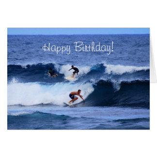 Cartão Surfistas grandes de Havaí da ilha do feliz