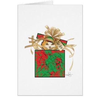 Cartão Surpresa alaranjada do presente do Natal do gato