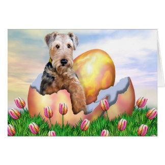 Cartão Surpresa da páscoa de Airedale Terrier