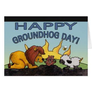 Cartão Surpresa do dia do leão e do Cordeiro-Groundhog