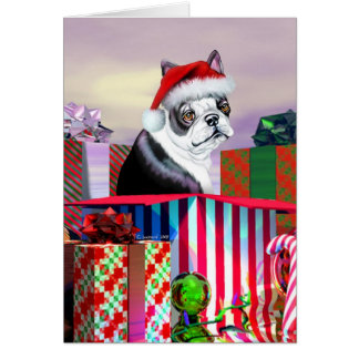 Cartão Surpresa do Natal de Boston Terrier