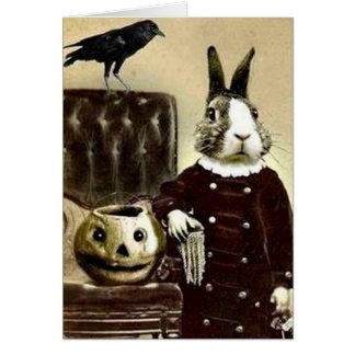 Cartão surrealista do Dia das Bruxas da arte do