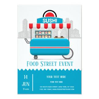 Cartão Sushi da comida da rua