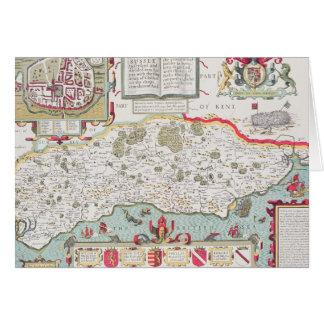 Cartão Sussex, gravado por Jodocus Hondius de John
