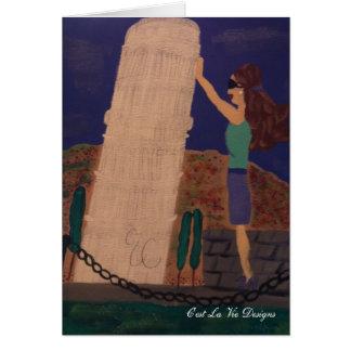 Cartão Sustentando a torre inclinada de Pisa