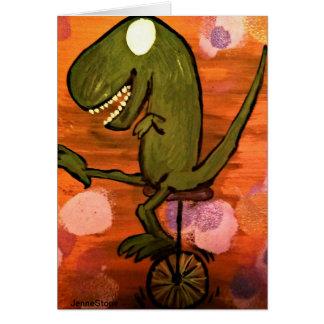 Cartão T-Rex monta um unicycle