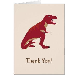 Cartão T-Rex vermelho, o obrigado do miúdo do dinossauro