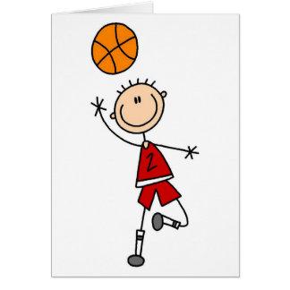 Cartão T-shirt e presentes vermelhos do basquetebol dos
