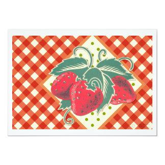Cartão Tablecloth Checkered branco vermelho do piquenique