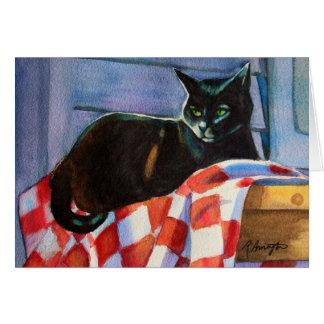 Cartão Tablecloth da verificação do gato preto
