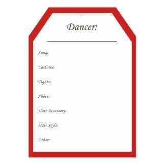 Cartão Tag do gancho do traje da dança no vermelho