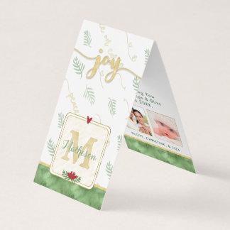 Cartão Tag do presente da foto do monograma da aguarela