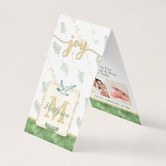 Cartão Tag dobrados monograma do presente da foto da