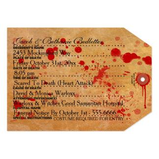 Cartão Tag sangrento do dedo do pé do Dia das Bruxas