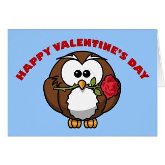 Cartão Tango da coruja dos namorados felizes