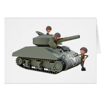 Cartão Tanque e soldados dos desenhos animados na