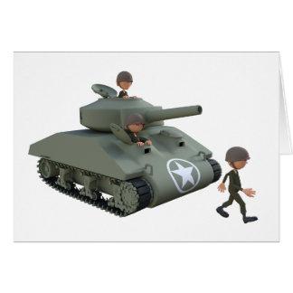 Cartão Tanque e soldados dos desenhos animados que vão