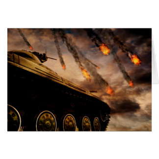 Cartão Tanque militar no campo de batalha