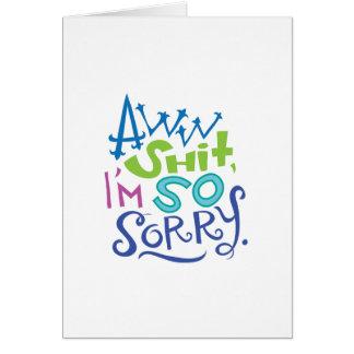 Cartão tão pesaroso da desculpa