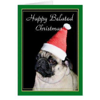 Cartão tardivo feliz do Pug do Natal