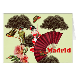 Cartão Tarjeta Madrid rosas, pajaritos y un abanico