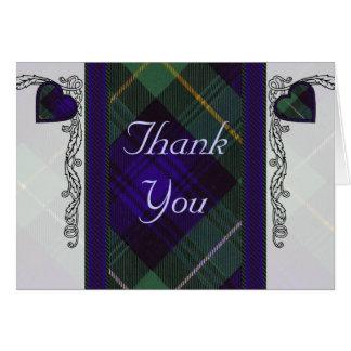 Cartão Tartan & corações - obrigado - Campbell de Argyll