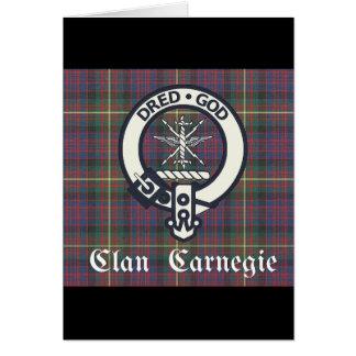 Cartão Tartan da crista de Carnegie do clã