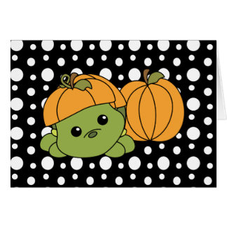 Cartão Tartaruga Cutie em um terno da abóbora!