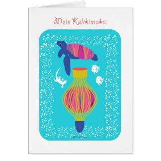 Cartão Tartaruga de Mele Kalikimaka (Feliz Natal),