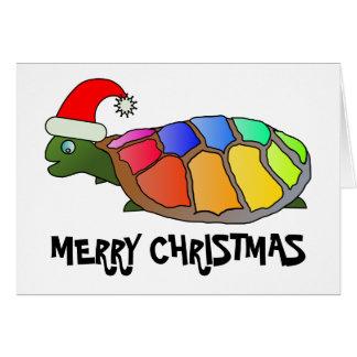 Cartão Tartaruga do arco-íris com chapéu do papai noel