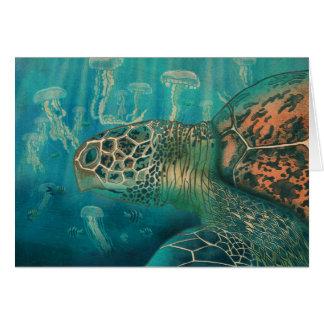 Cartão Tartaruga e medusa