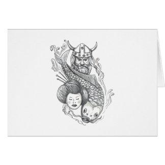 Cartão Tatuagem da cabeça da gueixa da carpa de Viking