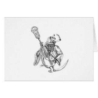 Cartão Tatuagem de Pólo da defesa do Lacrosse do Ceifador