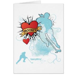 Cartão Tatuagem do coração do hóquei das senhoras