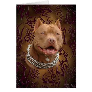 Cartão Tatuagem tribal marrom de Pitbull