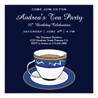 Cartão Tea party azul simples elegante do aniversário do