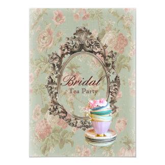 Cartão tea party botânico floral do chá de panela do