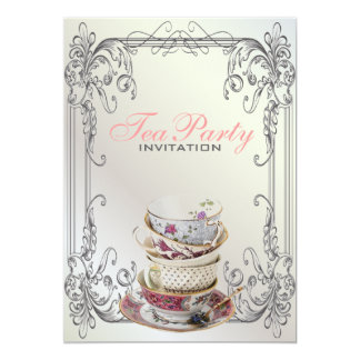Cartão Tea party branco do vintage dos redemoinhos
