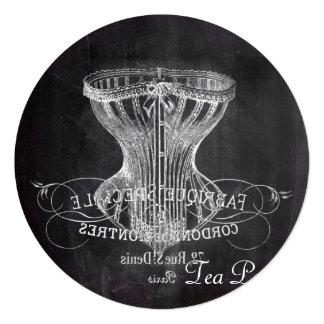 Cartão tea party do chá de panela do quadro do vintage do