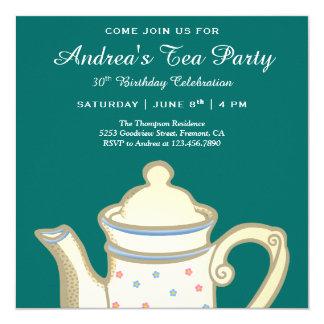 Cartão Tea party elegante simples do aniversário da