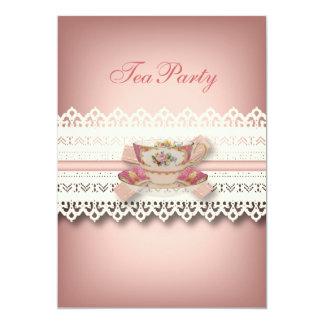 Cartão tea party floral do teacup do rosa do laço do país