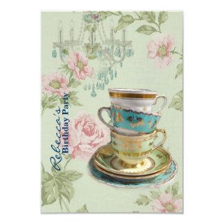 Cartão tea party francês do aniversário do jardim do país