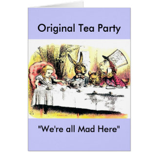 Cartão Tea party louco do Hatter