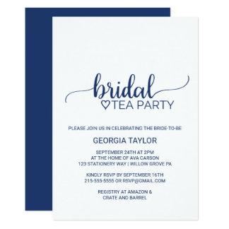 Cartão Tea party nupcial da caligrafia simples dos azuis