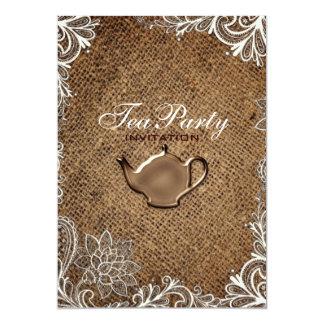Cartão tea party nupcial do país rústico do laço de
